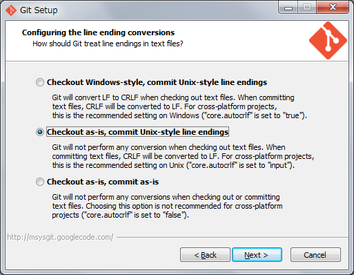 ウィザード:Configuring the line ending conversions